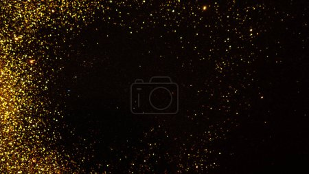Photo for Abstract holiday background, gold Stardust on black. Sequins in focus and out of focus. - Royalty Free Image
