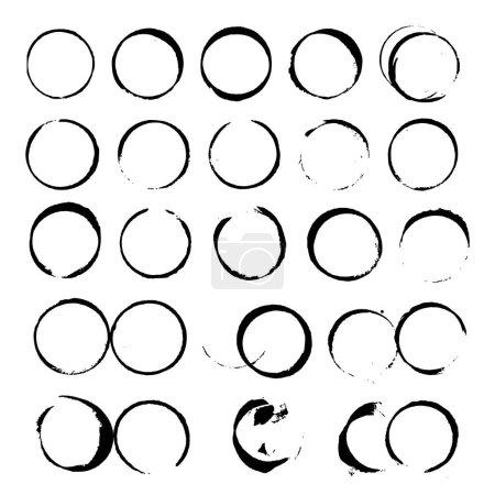 Ensemble de cercles abstraits de tache de vin noir vecteur sur fond blanc