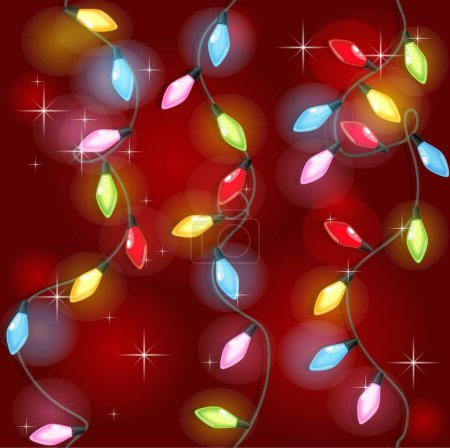 Illustration for Seamless texture of Christmas colorful garlands on red background - Royalty Free Image