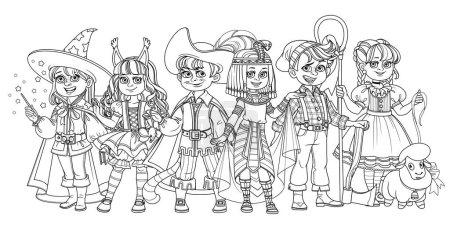 Illustration pour Enfants en costumes de carnaval sorcier, reine égyptienne, écureuil, bûcheron, chat en bottes et personnages de bergère esquissés pour la coloriage - image libre de droit