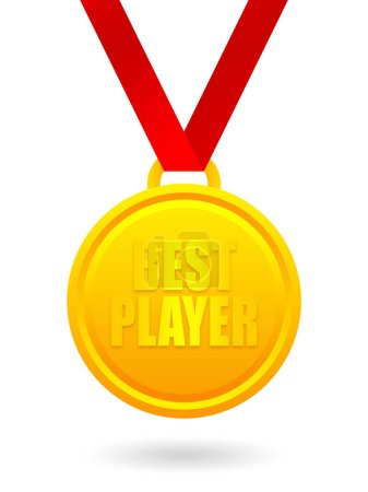 Photo pour Best player golden medal isolated on white background - image libre de droit