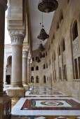Sanaa, Yemen - March 6, 2010: Courtyard of the famous AL-Saleh mosque in the capital of Yemen. The largest mosque in the country
