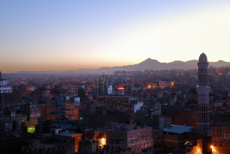 The capital of Yemen. View on the old city from roof at dawn