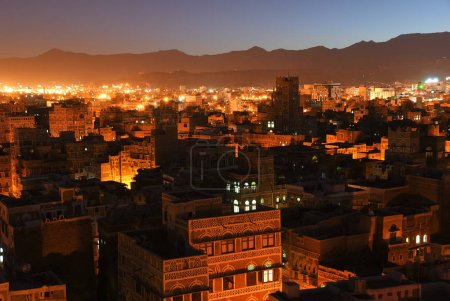 The capital of Yemen. View on the old city from roof at night