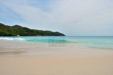 Dawn at the beautiful sandy beach Anse Lazio - the most known beach on the Seychelles islands