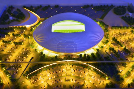 Moscow, Russia - July 14, 2018: The mock-up of the Al Wakrah Stadium at which the matches of the FIFA World Cup 2022 in Qatar will be held.