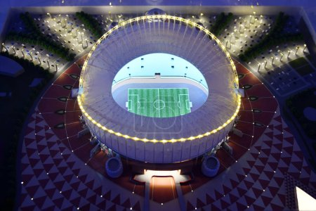 Moscow, Russia - July 14, 2018: The mock-up of the Khalifa International Stadium at which the matches of the FIFA World Cup 2022 in Qatar will be held
