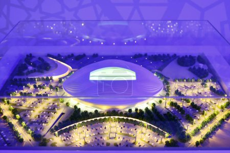Moscow, Russia - July 14, 2018: The mock-up of the Al Wakrah Stadium at which the matches of the FIFA World Cup 2022 in Qatar will be held