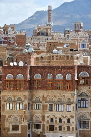 Ancient architecture in Sanaa. The old city of Sanaa is declared a UNESCO World heritage site. Yemen