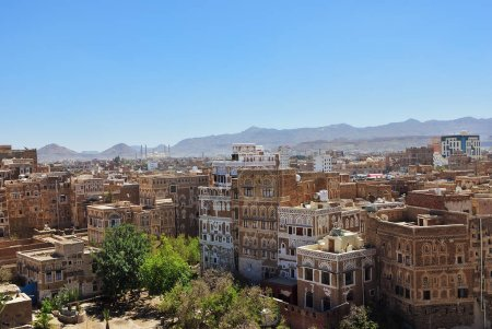 Photo for View on the old Sanaa. The old city of Sanaa is declared a UNESCO World heritage site now destroed due to civil war - Royalty Free Image