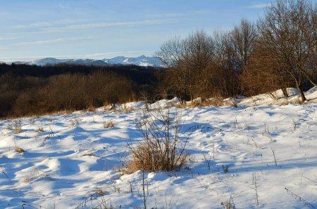 Karachay Cherkessia. Russia. Atmospheric landscape of Caucasus mountains at winter dawn