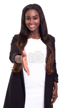 african businesswoman offering handshake isolated on white background