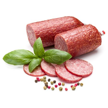 Photo for Salami smoked sausage, basil leaves and peppercorns isolated on white background cutout - Royalty Free Image