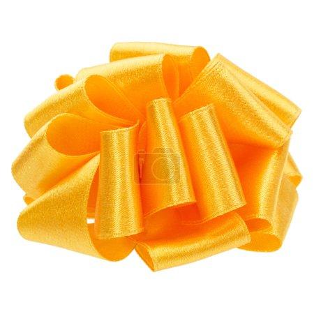 Photo pour Satin brillant rond ruban bow en couleur jaune isolé sur fond blanc gros plan - image libre de droit