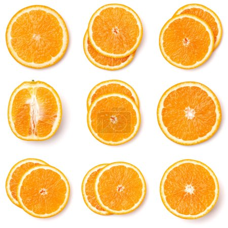 Photo pour Modèle sans couture de tranches de fruits orange isolé sur fond blanc. - image libre de droit