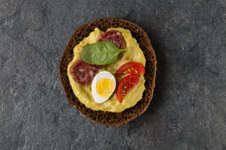 Photo for Open Sandwich with sausage. Top view, flat lay. - Royalty Free Image