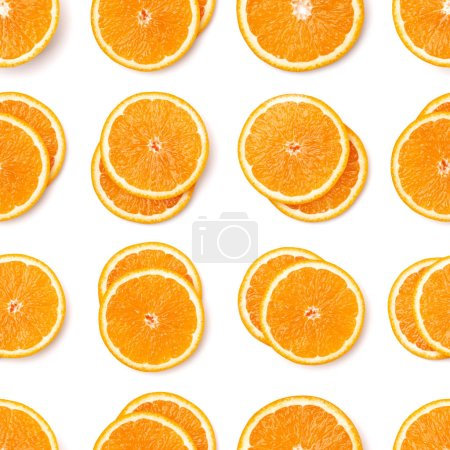 Photo for Seamless pattern of orange fruit slices. Orange slices isolated on white background. Food background. Flat lay, top view. - Royalty Free Image