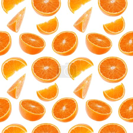 Photo for Orange fruit seamless pattern. Orange segments isolated on white background. Food background. - Royalty Free Image