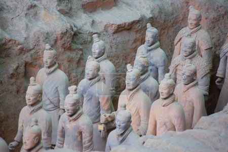 XIAN, CHINA - October 8, 2017: Famous Terracotta Army in Xi'an, China. Mausoleum of Qin Shi Huang, first Emperor of China contains collection of terracotta sculptures of armored men and horses.