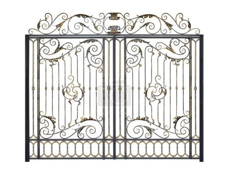 Photo for Openwork arched gate with decor in the old style.  Isolated over white background. - Royalty Free Image