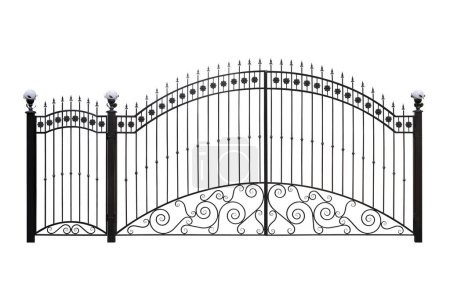 Photo for Forged gates  and doors with decor.  Isolated over  white background. - Royalty Free Image