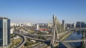 Famous cable-stayed bridge at Sao Paulo city. Brazil. Aerial view of Octavio Frias de Oliveira Bridge in Sao Paulo city.