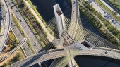 Aerial view of  cable-stayed bridge at Sao Paulo city. Brazil. Aerial view of Marginal Pinheiros, Pinheiros river in Sao Paulo city. Estaiada bridge in Sao Paulo city.