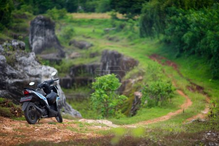 A parked scooter stands on a background of nature with a trail going away and rocks.