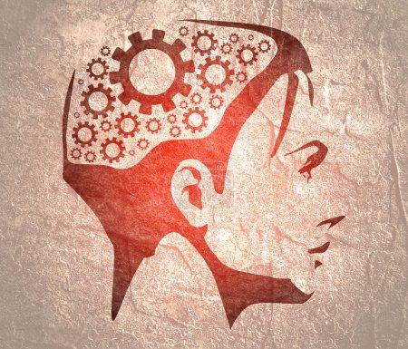 Photo pour Silhouette de tête de femme. Modèle de conception de brochure sur la santé mentale. Engrenages icônes dans la tête comme symbole de remue-méninges ou de réflexion - image libre de droit