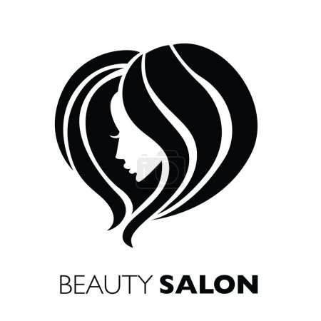 Illustration for Illustration of woman with beautiful hair - can be used as a logo for beauty salon / spa - Royalty Free Image