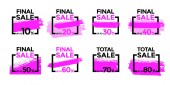 Set of vector sale signs