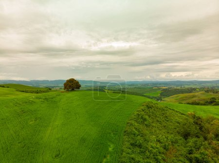 Photo for Tuscany countryside hills, stunning aerial view in spring. - Royalty Free Image