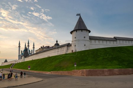 Photo for Panoramic view of the Kazan Kremlin and the Kul Sharif Mosque, Kazan, Tatarstan, Russia - Royalty Free Image