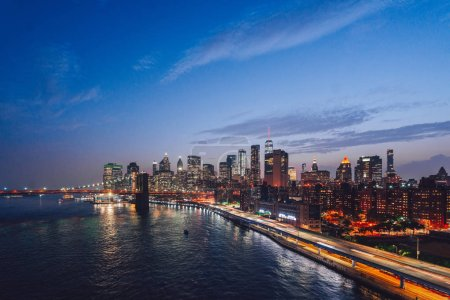 Photo for Urban night landscape in New York City - Royalty Free Image