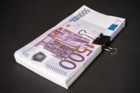 five hundred euros on black background