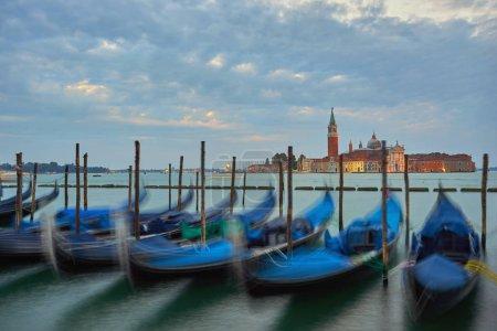 Photo for Gondolas on Grand Canal and San Giorgio Maggiore church in Venice - Royalty Free Image