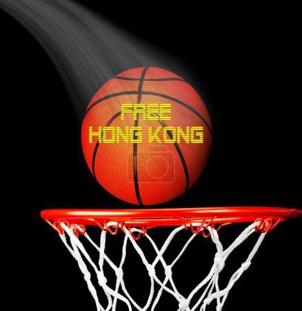 Photo pour Mouvement pro-indépendance libre de Hong Kong avec basket-ball . - image libre de droit
