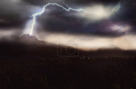 Dramatic situation in stormy weather in mountains