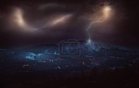 Danger stormy weather in Zakopane City in Poland