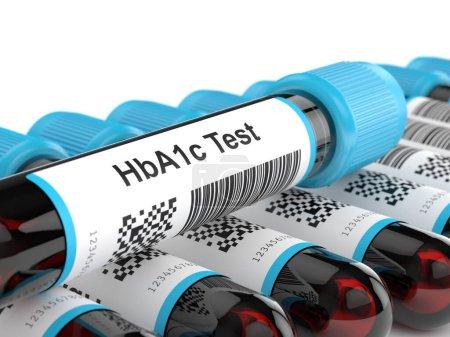 Photo pour Rendu 3d de tubes sanguins HbA1c sur fond blanc. Test pour le concept de diabète . - image libre de droit