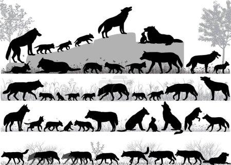 Illustration pour Silhouettes de loups et ses petits à l'extérieur - image libre de droit