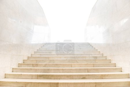 Photo for Marble staircase with stairs in abstract luxury architecture isolated on white background - Royalty Free Image