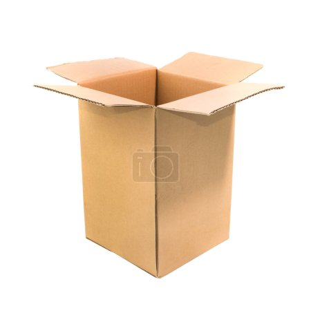 Photo for Open cardboard box isolated on white background - Royalty Free Image