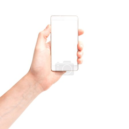 Photo for Hand holding white smartphone with isolated white background screen - Royalty Free Image
