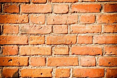 Photo pour Texture pour le fond de mur de brique ancienne rouge - image libre de droit