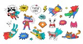 Superhero cute hand drawn animals vector characters