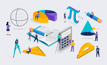 Illustration for Math lab and school class. Science, education, mathematics scene with miniature people, students. Isometric vector concept design - Royalty Free Image
