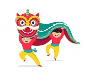 Chinese New Year background greeting card with a lion dance red dragon character