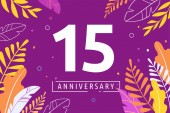 Happy Anniversary - fantasy leaves background with number concept of celebration birthday event banner design