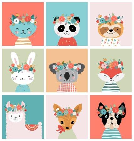 Photo pour Mignonnes têtes d'animaux avec couronne de fleurs, illustrations vectorielles pour la conception de pépinière, affiche, cartes de vœux d'anniversaire. Panda, lama, renard, coala, chat, chien, raton laveur et lapin - image libre de droit